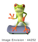 #44252 Royalty-Free (Rf) Illustration Of A Cute Green 3d Frog Skateboarding - Pose 2