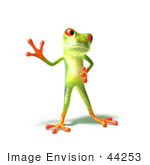 #44253 Royalty-Free (Rf) Illustration Of A Cute Green 3d Frog Waving - Pose 1