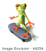 #44254 Royalty-Free (Rf) Illustration Of A Cute Green 3d Frog Skateboarding - Pose 3