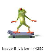 #44255 Royalty-Free (Rf) Illustration Of A Cute Green 3d Frog Skateboarding - Pose 1