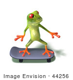 #44256 Royalty-Free (Rf) Illustration Of A Cute Green 3d Frog Skateboarding - Pose 4