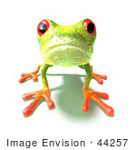 #44257 Royalty-Free (Rf) Illustration Of A Cute Green 3d Frog On All Fours Looking Forward - Version 2
