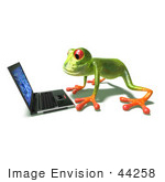 #44258 Royalty-Free (Rf) Illustration Of A Cute Green 3d Frog Using A Laptop - Pose 1