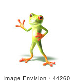 #44260 Royalty-Free (Rf) Illustration Of A Cute Green 3d Frog Waving - Pose 2