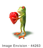 #44263 Royalty-Free (Rf) Illustration Of A Cute Green 3d Frog Holding A Love Heart - Pose 3