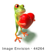 #44264 Royalty-Free (Rf) Illustration Of A Cute Green 3d Frog Holding A Love Heart - Pose 4