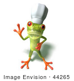 #44265 Royalty-Free (RF) Illustration of a Cute Green 3d Frog Chef Wearing A Hat - Pose 3 by Julos