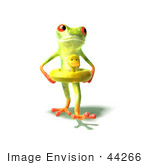#44266 Royalty-Free (Rf) Illustration Of A Green 3d Frog Wearing A Ducky Inner Tube - Pose 3