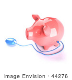 #44276 Royalty-Free (Rf) Illustration Of A 3d Blue Computer Mouse Around A Pink Piggy Bank - Pose 1