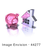 #44277 Royalty-Free (Rf) Illustration Of A 3d Pink Piggy Bank By A Silver House - Pose 3