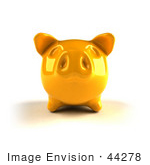 #44278 Royalty-Free (Rf) Illustration Of A 3d Yellow Shiny Piggy Bank - Version 3