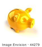 #44279 Royalty-Free (Rf) Illustration Of A 3d Yellow Shiny Piggy Bank - Version 4