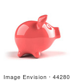 #44280 Royalty-Free (Rf) Illustration Of A 3d Pink Shiny Piggy Bank - Version 1