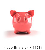 #44281 Royalty-Free (Rf) Illustration Of A 3d Pink Shiny Piggy Bank - Version 3