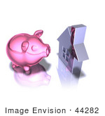 #44282 Royalty-Free (Rf) Illustration Of A 3d Pink Piggy Bank By A Silver House - Pose 1