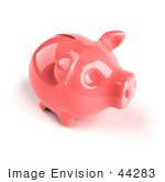#44283 Royalty-Free (Rf) Illustration Of A 3d Pink Shiny Piggy Bank - Version 4