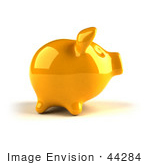 #44284 Royalty-Free (Rf) Illustration Of A 3d Yellow Shiny Piggy Bank - Version 1