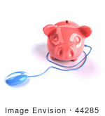#44285 Royalty-Free (Rf) Illustration Of A 3d Blue Computer Mouse Around A Pink Piggy Bank - Pose 2