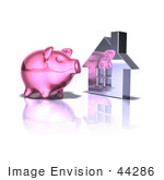 #44286 Royalty-Free (Rf) Illustration Of A 3d Pink Piggy Bank By A Silver House - Pose 5