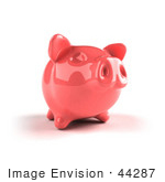 #44287 Royalty-Free (Rf) Illustration Of A 3d Pink Shiny Piggy Bank - Version 2