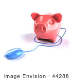 #44288 Royalty-Free (Rf) Illustration Of A 3d Blue Computer Mouse Around A Pink Piggy Bank - Pose 3