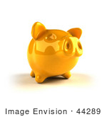 #44289 Royalty-Free (Rf) Illustration Of A 3d Yellow Shiny Piggy Bank - Version 2