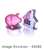 #44290 Royalty-Free (Rf) Illustration Of A 3d Pink Piggy Bank By A Silver House - Pose 4