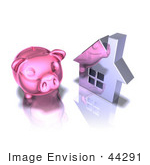 #44291 Royalty-Free (Rf) Illustration Of A 3d Pink Piggy Bank By A Silver House - Pose 2