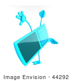 #44292 Royalty-Free (Rf) Illustration Of A 3d Slim Turquoise Cellphone Mascot Doing A Cartwheel - Version 3