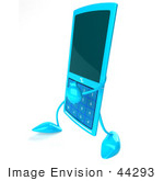 #44293 Royalty-Free (Rf) Illustration Of A 3d Slim Turquoise Cellphone Mascot Walking Left