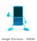 #44294 Royalty-Free (Rf) Illustration Of A 3d Slim Turquoise Cellphone Mascot Giving The Thumbs Up