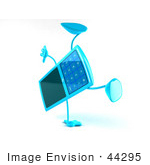 #44295 Royalty-Free (Rf) Illustration Of A 3d Slim Turquoise Cellphone Mascot Doing A Cartwheel - Version 2