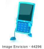 #44296 Royalty-Free (Rf) Illustration Of A 3d Slim Turquoise Cellphone Mascot Walking Forward