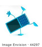#44297 Royalty-Free (Rf) Illustration Of A 3d Slim Turquoise Cellphone Mascot Doing A Cartwheel - Version 1