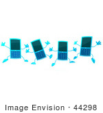 #44298 Royalty-Free (Rf) Illustration Of Four 3d Slim Turquoise Cellphone Mascots Jumping