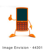 #44301 Royalty-Free (Rf) Illustration Of A 3d Slim Orange Cellphone Mascot Giving The Thumbs Up