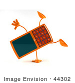 #44302 Royalty-Free (Rf) Illustration Of A 3d Slim Orange Cellphone Mascot Doing A Cartwheel - Version 1