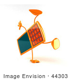 #44303 Royalty-Free (Rf) Illustration Of A 3d Slim Orange Cellphone Mascot Doing A Cartwheel - Version 2