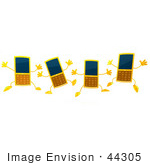 #44305 Royalty-Free (Rf) Illustration Of Four 3d Slim Yellow Cellphone Mascots Jumping