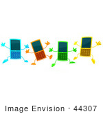#44307 Royalty-Free (Rf) Illustration Of Four 3d Slim Blue Orange Green And Yellow Cellphone Mascots Jumping