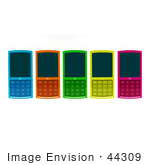 #44309 Royalty-Free (Rf) Clipart Illustration Of Five Colorful 3d Cellphones Laying Flat On A Surface