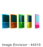 #44310 Royalty-Free (Rf) Clipart Illustration Of Five Colorful 3d Cellphones In A Row - Version 1
