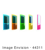 #44311 Royalty-Free (Rf) Clipart Illustration Of Five Colorful 3d Cellphones In A Row - Version 2