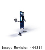 #44314 Royalty-Free (Rf) Illustration Of A Slim 3d Cellular Phone Mascot Holding Its Arms Out - Version 8