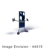 #44315 Royalty-Free (Rf) Illustration Of A Slim 3d Cellular Phone Mascot Holding Its Arms Out - Version 5
