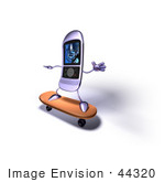 #44320 Royalty-Free (Rf) Illustration Of A 3d Mp3 Player Riding On A Skateboard