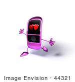 #44321 Royalty-Free (Rf) Illustration Of A Happy Pink Mp3 Player With Hearts On The Screen Running With Its Arms Open
