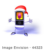 #44323 Royalty-Free (Rf) Illustration Of A 3d Mp3 Player Holding Its Arms Out And Wearinga Santa Hat