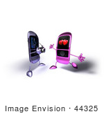 #44325 Royalty-Free (Rf) Illustration Of A 3d Mp3 Player Taking A Picture Of An Amorous Phone