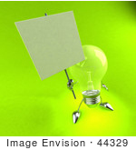 #44329 Royalty-Free (Rf) Illustration Of A Green 3d Incandescent Light Bulb Mascot Holding A Blank Sign On A Post - Version 3